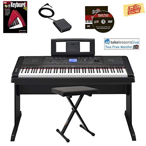 Yamaha DGX-660 Digital Piano - Black Bundle with Adjustable Bench, Instructional Book, Austin Bazaar Instructional DVD, and Polishing ()