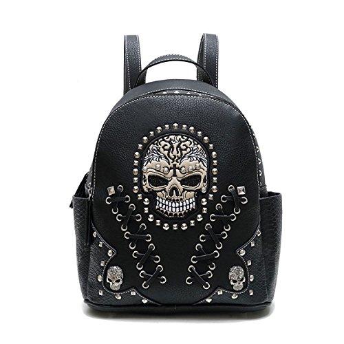 Western Handbag - Biker Skull Studded Backpack - Biker Handbags