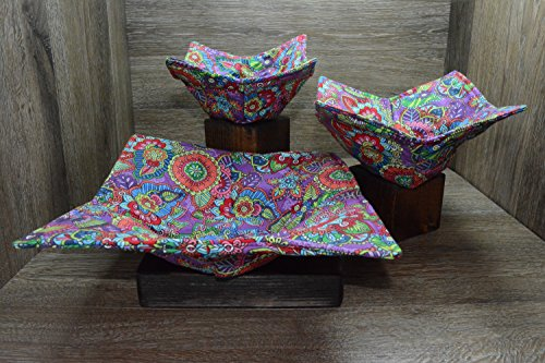 Microwave Bowl Cozies//Set of 3//1 Small Bowl Cozy//1 Medium Bowl Cozy//1 Dinner Plate Cozy//Butterfly Garden