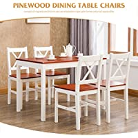 Mecor Pine Wood Dining Table Set for 4 Chairs Kitchen Dining Room Furniture