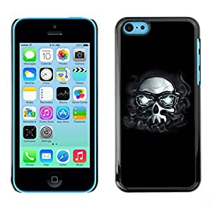 GagaDesign Phone Accessories: Hard Case Cover for Apple iPhone 5C - Hipster Skull With Glasses