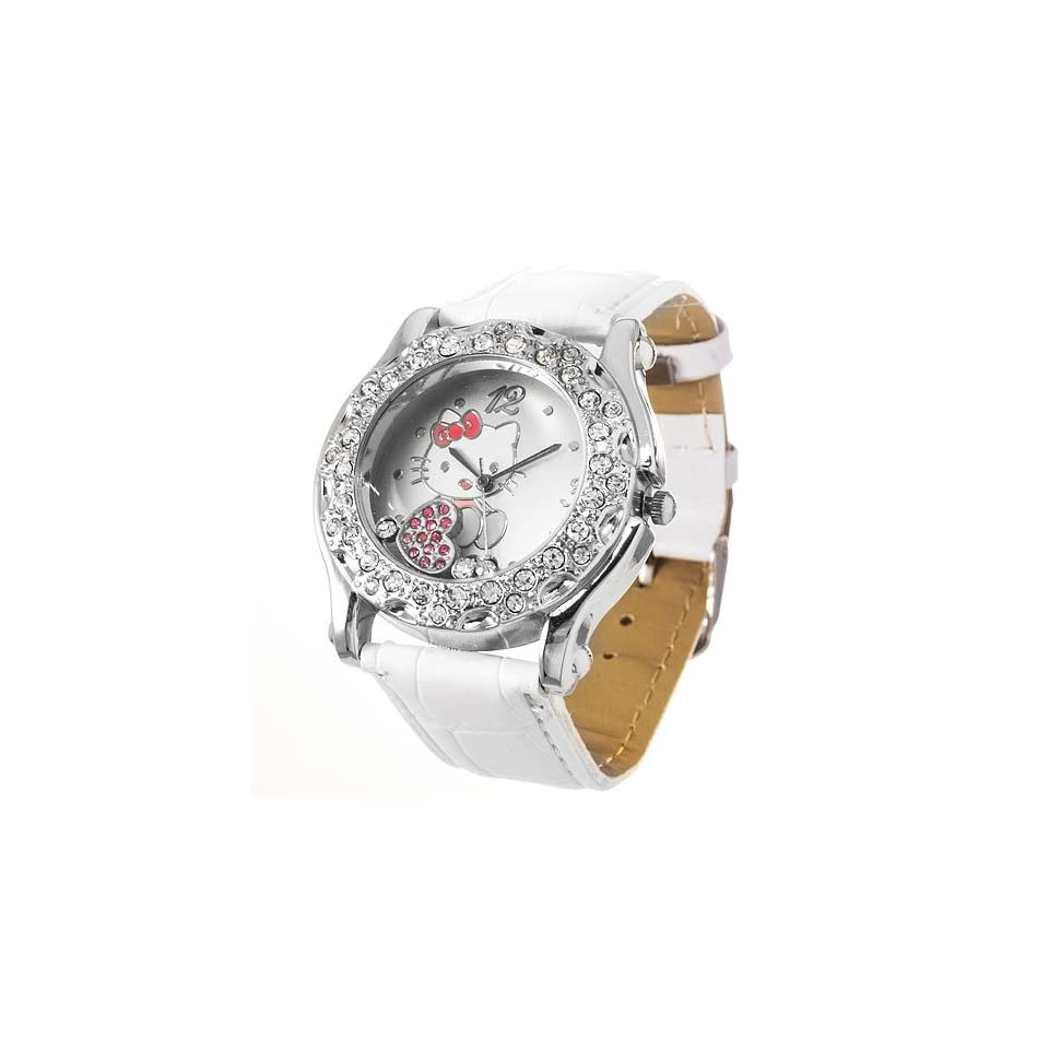 Ladies Kitty Metal Cased Rhinestone Watch with Leather Strap and Floating Charms   White