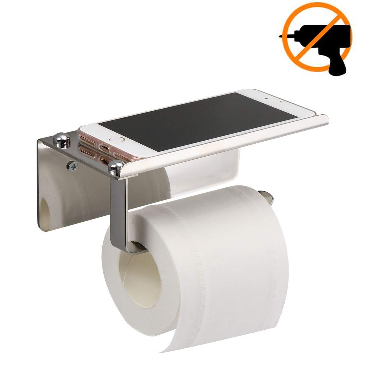 Porte-papier Toilette,Porte-papier Hygiénique Support Mural Sans Perçage, Acier Inoxydable 304, Rouleau de Papier Toilette Support Papier Adhésif 3 M Autocollant