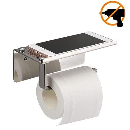 Portarrollos para Papel Higiénico,autoadhesivo 3M,portarrollos baño adhesivo, Acero inoxidable, Apto para baños y cocinas (Plata)