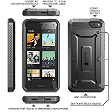 SUPCASE Amazon Fire Phone Case – Unicorn Beetle PRO Series Full-body Hybrid Protective Case with Built-in Screen Protector (Black/Black), Dual Layer Design/Impact Resistant Bumper, Compatible with Fire Phone 2014 Release