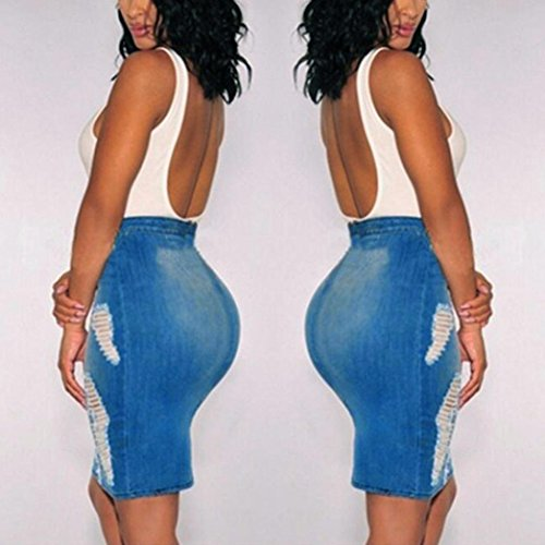 gonna Mini Gonna Byste Donna Corto Blu Bodycon Alta Vintage Denim Vita Matita Buco Jeans Sottile A 11AO6xSqw