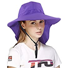 Unisex wide brim hat with neck cover,Outdoor hat for hiking with adjustable rope