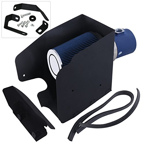 For Ford F250 F350 F450 V8 6.4L High Flow Induction Air Intake System + Heat Shield Blue Wrinkle Piping Kit - Ford F450 Intake System