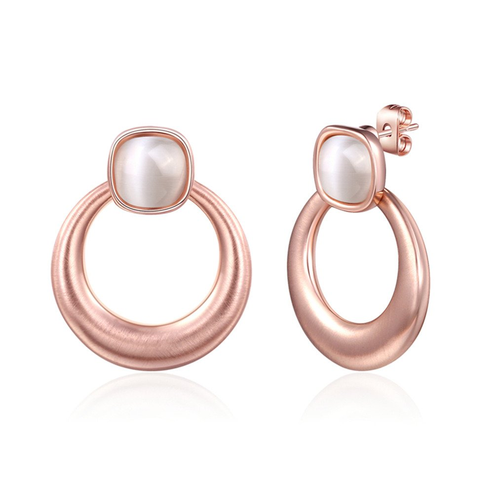 Open Circle Earrings 18ct Rose Gold Plated Gift For Her by Mrsrui