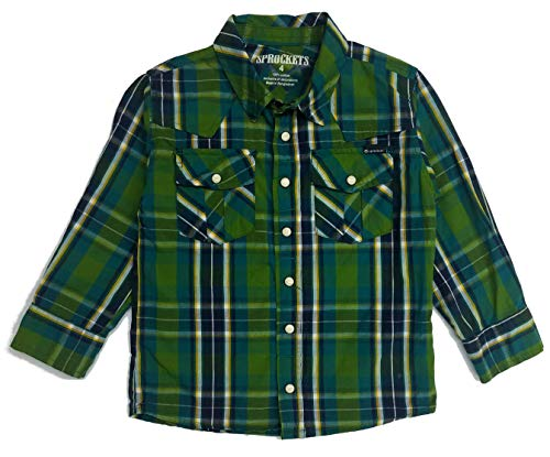 Sprockets Boys' Lumber Jack Joe Plaid Western Shirt Baby Toddler Kids (2T, Green Plaid)