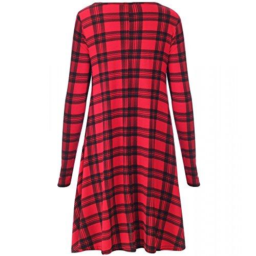 7 Fashion Road Damen Kleid, Kariert Rot Red Tartan