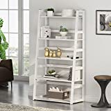 Tribesigns 5-Tier Bookshelf, Free Standing Ladder Shelf with Strong Metal Frame, Ample Space for Storage (White)