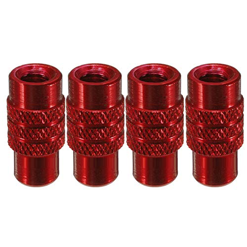 ruiycltd 4Pcs MTB Fixed Gear Bicycle Bike Tire Presta Valve Stem Dust Cap Alloy Cover - Red