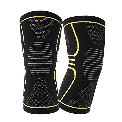 mk. park - 1 Pair Breathable Warmth Basketball Sports Safety Kneepad Training Protect Pads (Yellow, M)