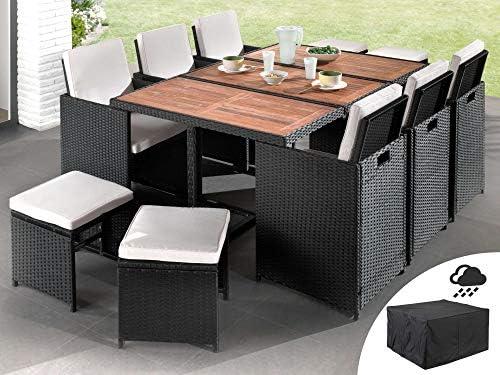 bestmobilier maya salon de jardin encastrable 10 places en resine tressee noir avec coussins beiges housse de protection