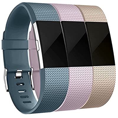 Maledan Replacement Accessories Bands for Fitbit Charge 2, 3 Pack