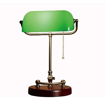 XIANGYU Lámpara de escritorio de los banqueros de bronce antiguos tradicionales sombra de cristal verde lámpara de mesa para la lectura del estudio ...