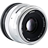 JARAY Fashion Silver 35mm f/1.6 Prime Fixed Lens Compact for SONY E-mount APS-C Cameras Manual Focus Sharp