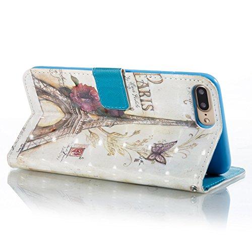 iPhone 7 Plus Hülle Blumenturm PU Leder Wallet Handytasche Flip Etui Schutz Tasche mit Integrierten Card Kartensteckplätzen und Ständer Funktion Für Apple iPhone 7 Plus + Zwei Geschenk