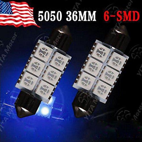 ETbotu 2PCS 36/mm 5050/6-smd blu siluro mappa interni LED lampade lampadine C5/W 6411/6418/per veicolo auto