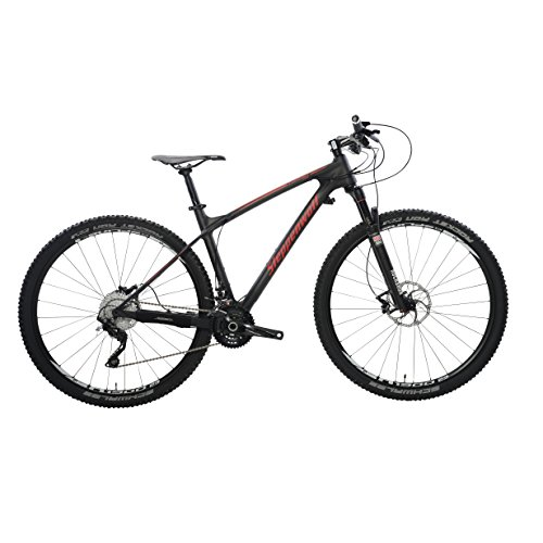 Steppenwolf Men's Tundra Carbon Pro Hardtail Mountain Bike, 29 inch wheels, 18.5 inch frame, Men's Bike, Black/Red, 99% assembled