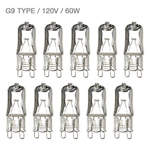 eTopLighting (10 Pack) G9-120V-60W, JCD Type Clear Halogen Light Bulbs G9 Bi-Pin Double Loop Base, 60 Watt 120 Volt,  Light Lamp Bulbs, G9-120V-56W(4) (Loop Light Bulb)