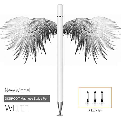 Digiroot Stylus for iPad, Magnetic Disc Stylus Pen 2019 Updated Touch Capacitive Screen Pens for Apple/iPhone/Ipad pro/Mini/Air/Android/Microsoft/Surface with 3 Replacement Tips - (White)