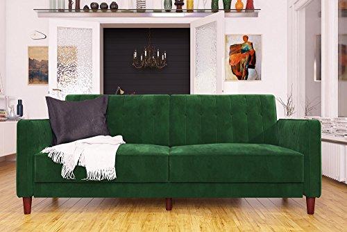 DHP Ivana Tufted Futon, Green Velvet