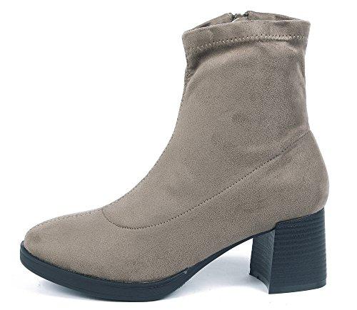 gamuza Botas medio cremallera para marrón con tacón de AgeeMi suave Zapatos mujer de a1xwnYqw5