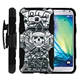 TurtleArmor   Compatible for Samsung Galaxy J3 Case (2016)   J310 [Octo Guard] Armor Rugged Solid Hybrid Sturdy Kickstand Impact Holster Belt Clip Sports and Games Design - Joker Skull