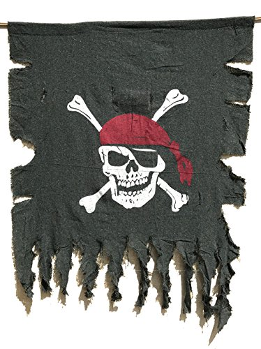 LANGXUN Large Size 3ft x 2.5ft Retro and Weathered Linen Pirate Flag for Halloween Decorations, Pirate Party, Kids Room Décor ()