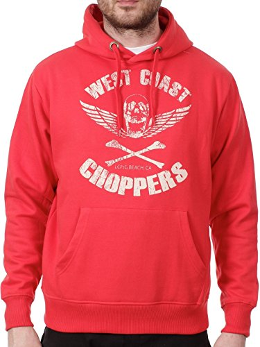 West Coast Choppers Red Retro Skull Hoody (Xl , Red) (West Choppers Hoodie compare prices)