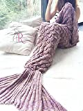 CR adult Mermaid Tail Blanket Crochet and Mermaid Blanket for adult, Super Soft All Seasons Sleeping Blankets