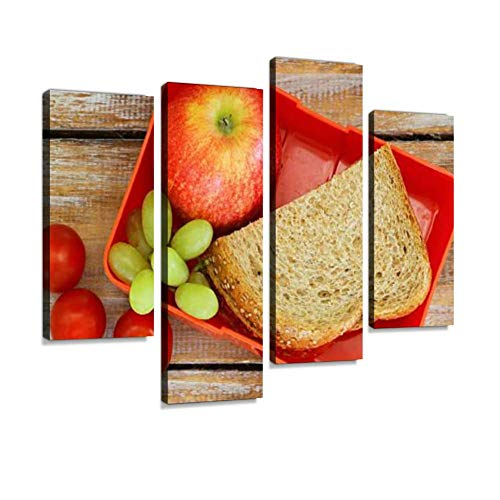 Lunch Box with Brown Bread Sandwich, Apple, Grapes and Tomatoes Canvas Wall Art Hanging Paintings Modern Artwork Abstract Picture Prints Home Decoration Gift Unique Designed Framed 4 Panel