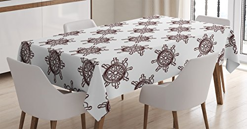 l Decor Tablecloth, Pattern of an Old-Fashioned Ships Wheel with Radial Spokes Motif in Square Format, Dining Room Kitchen Rectangular Table Cover, 60 X 84 inches ()
