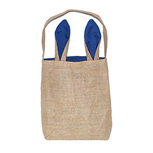 Mordoa Burlap Easter Tote Jute Easter Bunny bag With Bunny Ears Easter Baskets (Blue) A04