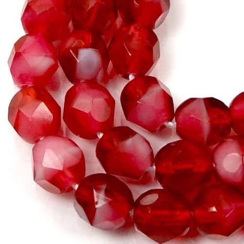 (25 Beads) 6mm Firepolish Czech Glass Faceted Round Beads - Two Tone -