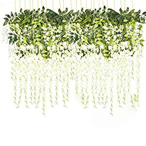 Dyna-Living 3.6 Feet Artificial Fake Wisteria Vine Ratta Hanging Garland Silk Flowers String Home Party Wedding Decor (White), 24 PCS 74