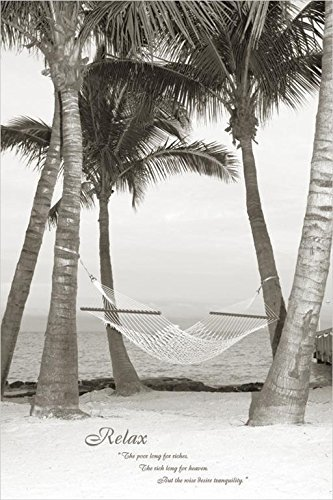 Buyartforless Tropical Relax Hammock with Quote 36x24 Art Pr
