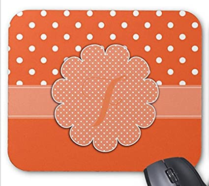 photo about Printable Mouse Pad called : White Dots Orange Monogram Printable mouse pad