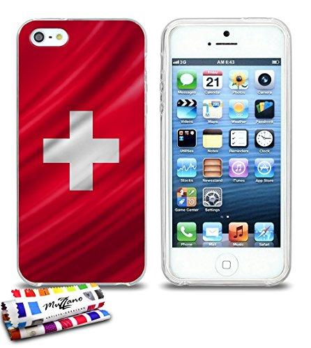 Ultraflache weiche Schutzhülle APPLE IPHONE 5S / IPHONE SE [Schweiz Flagge] [Durchsichtig] von MUZZANO + STIFT und MICROFASERTUCH MUZZANO® GRATIS - Das ULTIMATIVE, ELEGANTE UND LANGLEBIGE Schutz-Case