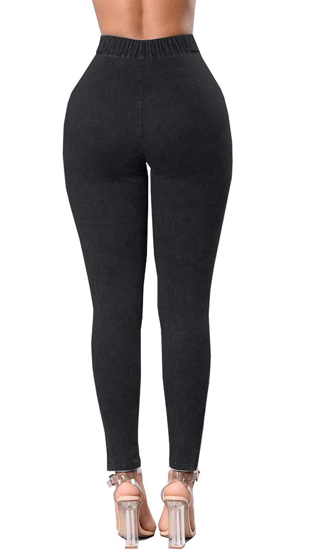Donna Vita Alta Jeans Attillati Taglia 8 10 12 14 16 18