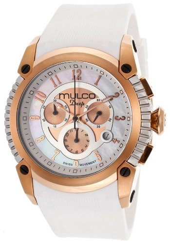 Mulco Deep Chronograph Mother of Pearl Dial White Silicone Ladies Watch MW121160013 - White Mother Of Pearl Chronograph
