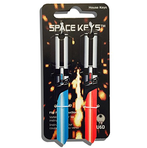 Pair of Red and Light Blue Saber Shaped Keys - Yale Universal U6D (Europe)