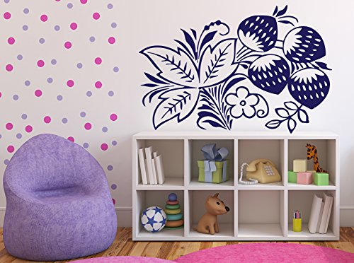 - Wall Sticker Vinyl Decal Branch Strawberry Leaves Bloom Berries (n068 M 22.5 in by 32 in )