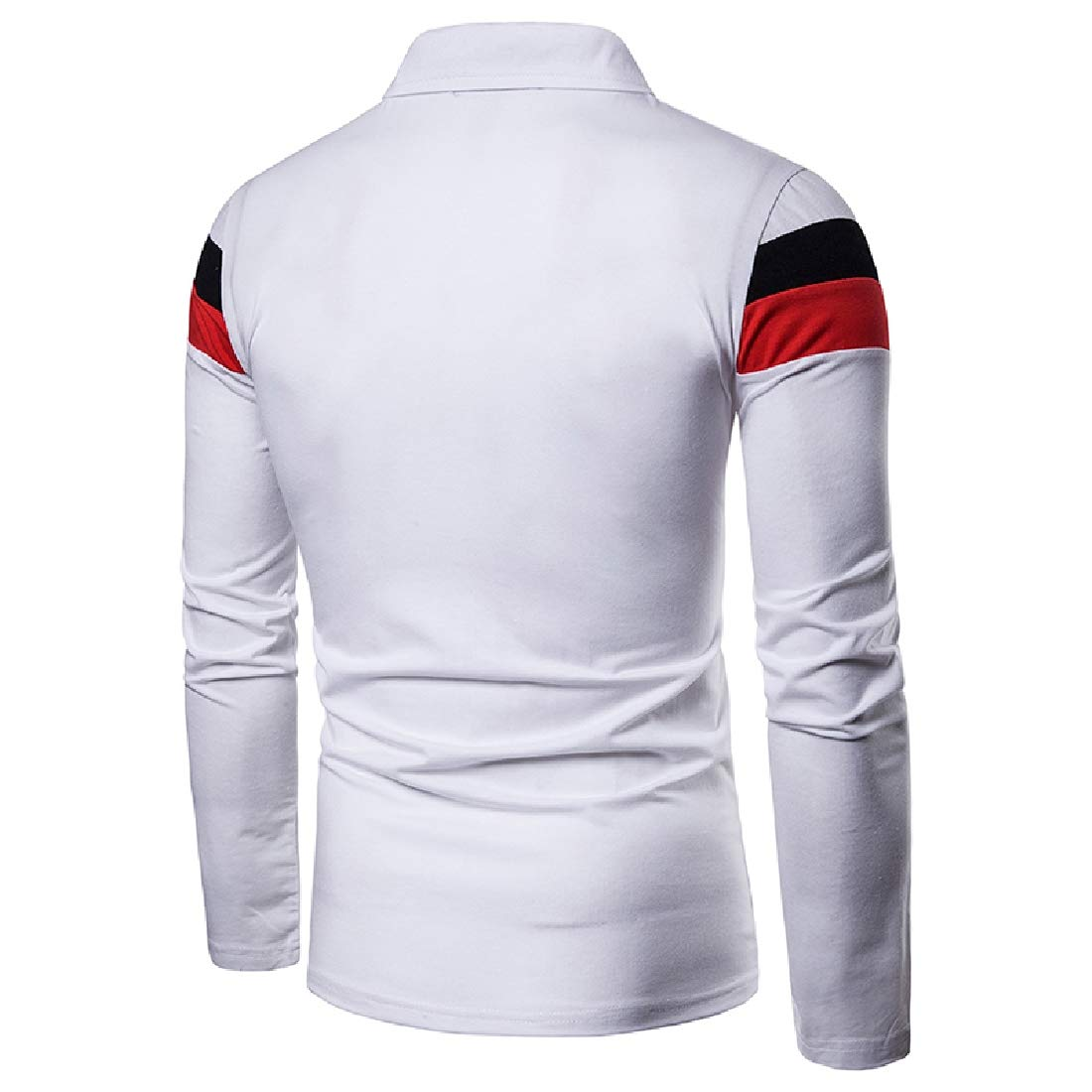 Zimaes-Men Pullover Long Sleeve Polo Lapel Collar Color Stitch Tees Top