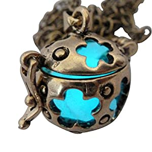 UMBRELLALABORATORY Wishing ball Fairy Magical Fairy Glow in the Dark Necklace-aqua-bronze