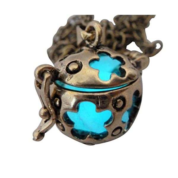 UMBRELLALABORATORY Wishing ball Fairy Magical Fairy Glow in the Dark Necklace-aqua-bronze 3