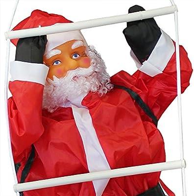 Santa Claus Climbing on Rope Ladder Outdoor Christmas Decoration 90cm-60cm en.casa