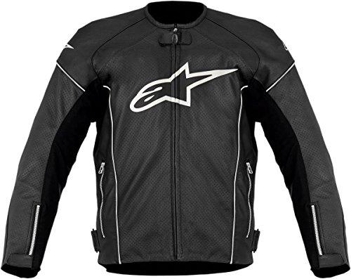 Alpinestars TZ-1 Reload Perforated Leather Men's Riding Jacket (Black/White, Size - Alpinestars Jacket Leather Tz1